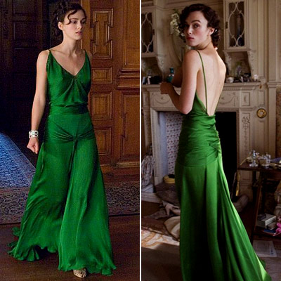 "Keira Knightley in ""Atonement"" 2007, wearing the fabulous emerald silk gown"