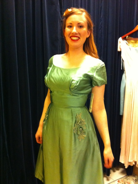 1950s silk couture party dress size 8, now $145